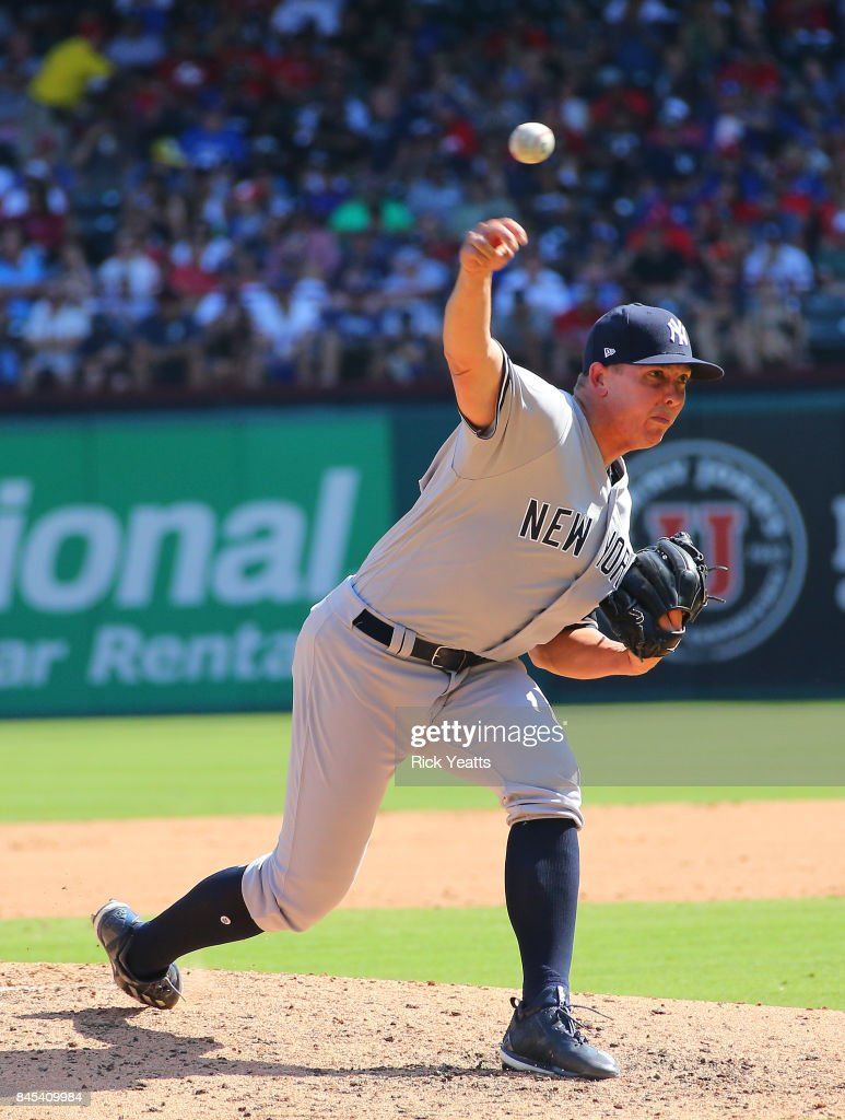 Chad Green #57 of the New York Yankees throws in the fourth inning against the Texas Rangers at Globe Life Park in Arlington on September 10, 2017 in Arlington, Texas.