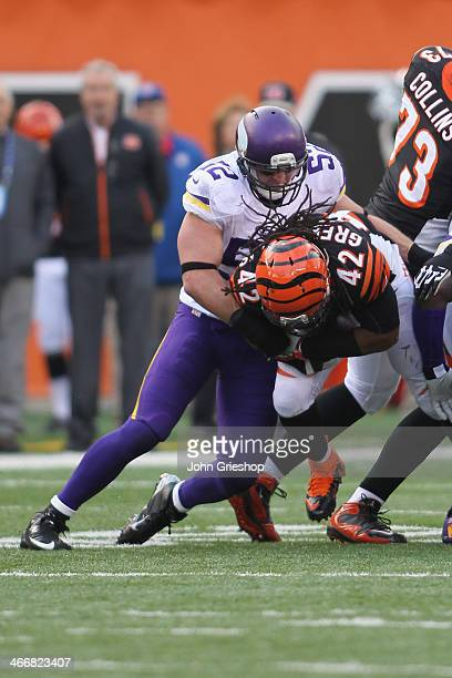 Chad Greenway of the Minnesota makes the tackle on BenJarvus GreenEllis of the Cincinnati Bengals during their game at Paul Brown Stadium on December...