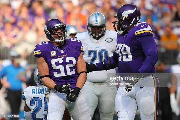 Chad Greenway of the Minnesota Vikings celebrates a tackle during the first quarter of the game on November 6 2016 at US Bank Stadium in Minneapolis...