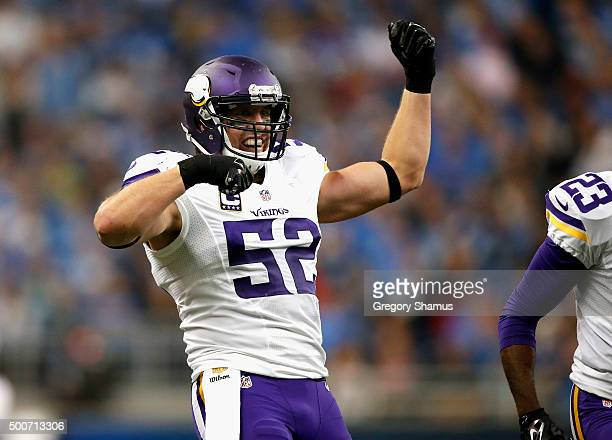Chad Greenway of the Minnesota Vikings celebrates during the game against the Detroit Lions at Ford Field on October 25 2015 in Detroit Michigan...