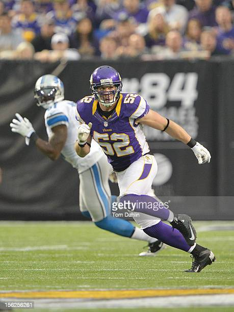 Chad Greenway of the Minnesota Vikings follows the action during an NFL game against the Detroit Lions at Mall of America Field at the Hubert H...