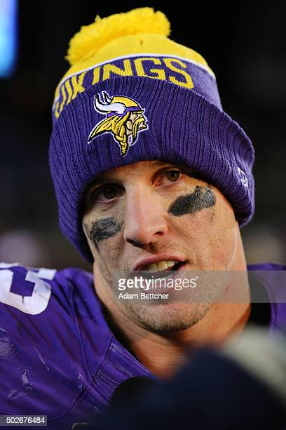 Chad Greenway of the Minnesota Vikings gets interviewed after the game against the New York Giants on December 27 2015 at TCF Bank Stadium in...