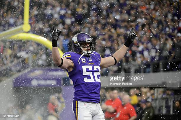 Chad Greenway of the Minnesota Vikings is introduced before the game against the Chicago Bears on January 1 2017 at US Bank Stadium in Minneapolis...