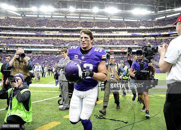 Chad Greenway of the Minnesota Vikings jogs off the field after the game on January 1 2017 at US Bank Stadium in Minneapolis Minnesota The Vikings...