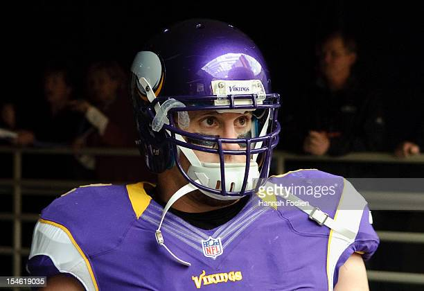 Chad Greenway of the Minnesota Vikings looks on before the game against the Arizona Cardinals on October 21 2012 at Mall of America Field at the...