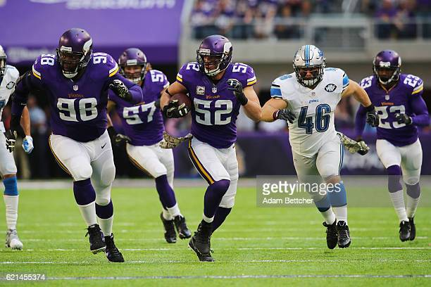 Chad Greenway of the Minnesota Vikings runs down the sideline after an interception during the first half of the game on November 6 2016 at US Bank...