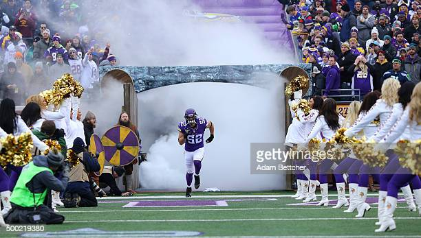 Chad Greenway of the Minnesota Vikings takes the field against the Seattle Seahawks on December 6 2015 at TCF Bank Stadium in Minneapolis Minnesota