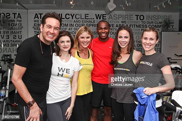 Chad Griffin, Megan Ferguson, Jenna Bush Hager, Darnell Strom, Barbara Bush and Lauren Goulston attend SoulCycle charity ride to benefit the Global...