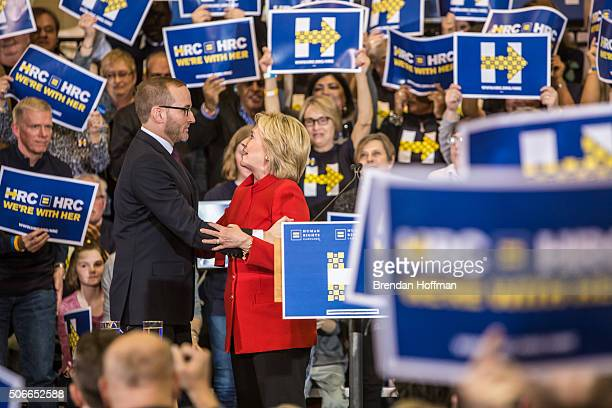 Chad Griffin , president of Human Rights Campaign, joins Democratic presidential candidate Hillary Clinton at a campaign event where HRC endorsed...