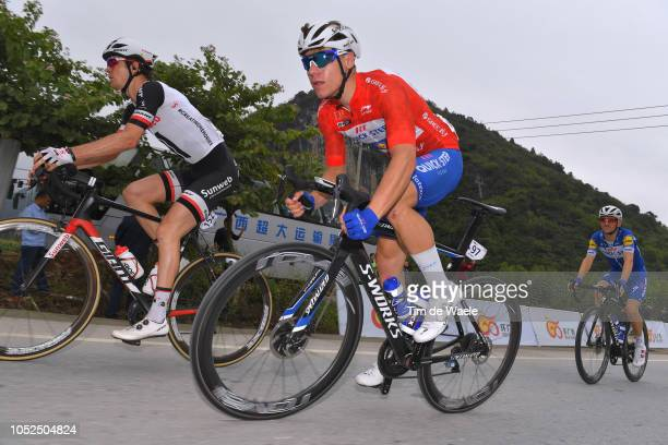 Chad Haga of The United States and Team Sunweb / Fabio Jakobsen of The Netherlands and Team QuickStep Floors Red Leader Jersey / Dries Devenyns of...