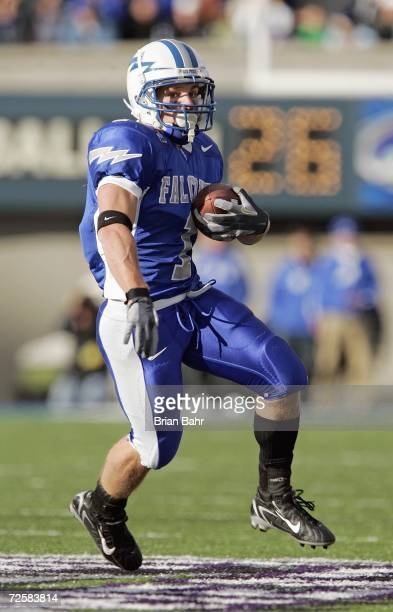 Chad Hall of the Air Force Falcons carries the ball during the game against the Notre Dame Fighting Irish on November 11 2006 at Falcon Stadium on...