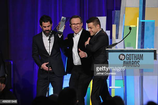 Chad Hamilton Christian Slater and Rami Malek speak onstage at the 25th IFP Gotham Independent Film Awards cosponsored by FIJI Water at Cipriani Wall...
