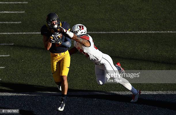 Chad Hansen of the California Golden Bears catches a touchdown in the endzone while covered by Julian Blackmon of the Utah Utes at California...