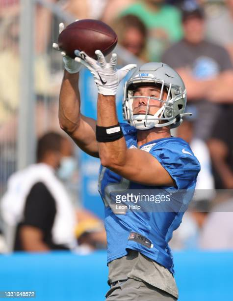 Chad Hansen of the Detroit Lions catches a pass during Training Camp on July 31, 2021 in Allen Park, Michigan.