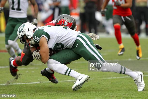 Chad Hansen of the Jets divers for the first down during the regular season game between the New York Jets and the Tampa Bay Buccaneers on November...