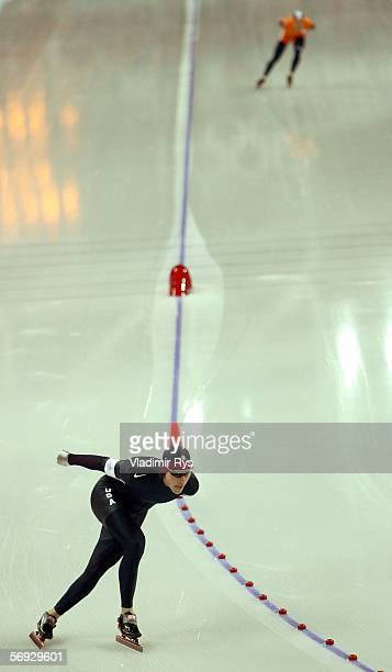 Chad Hedrick of the United States skates a 130540 to win the Silver medal and Carl Verheijen of the Netherlands skates a 100880 to win the Bronze...