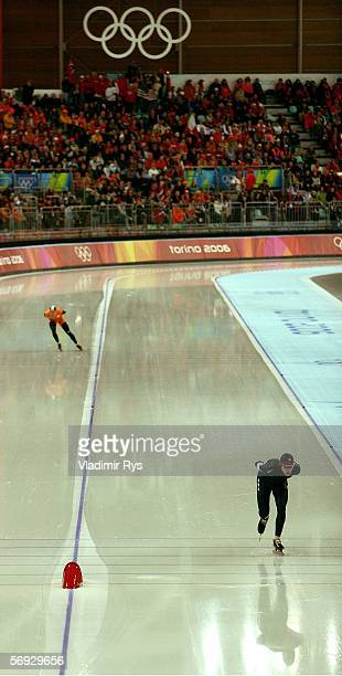 Chad Hedrick of the United States skates a 130540 to win the Silver medal and Carl Verheijen of the Netherlands skates a 130880 to win the Bronze...
