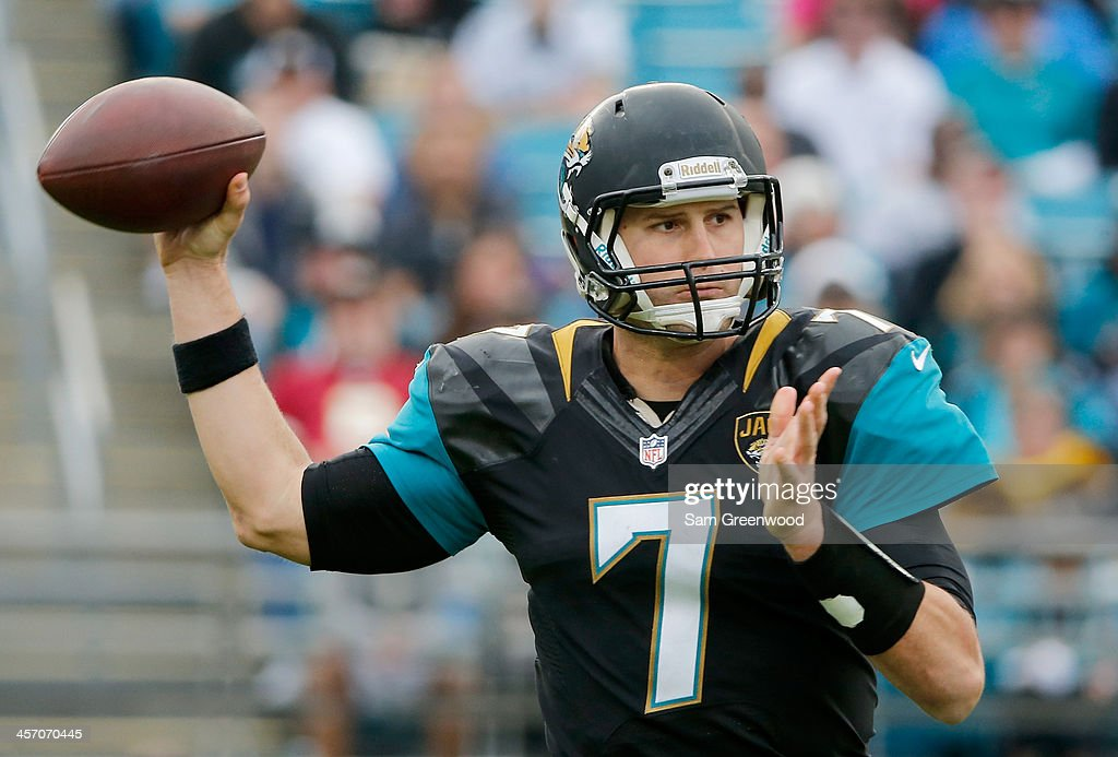 Chad Henne #7 of the Jacksonville Jaguars attempts a pass during the game against the Buffalo Bills at EverBank Field on December 15, 2013 in Jacksonville, Florida.