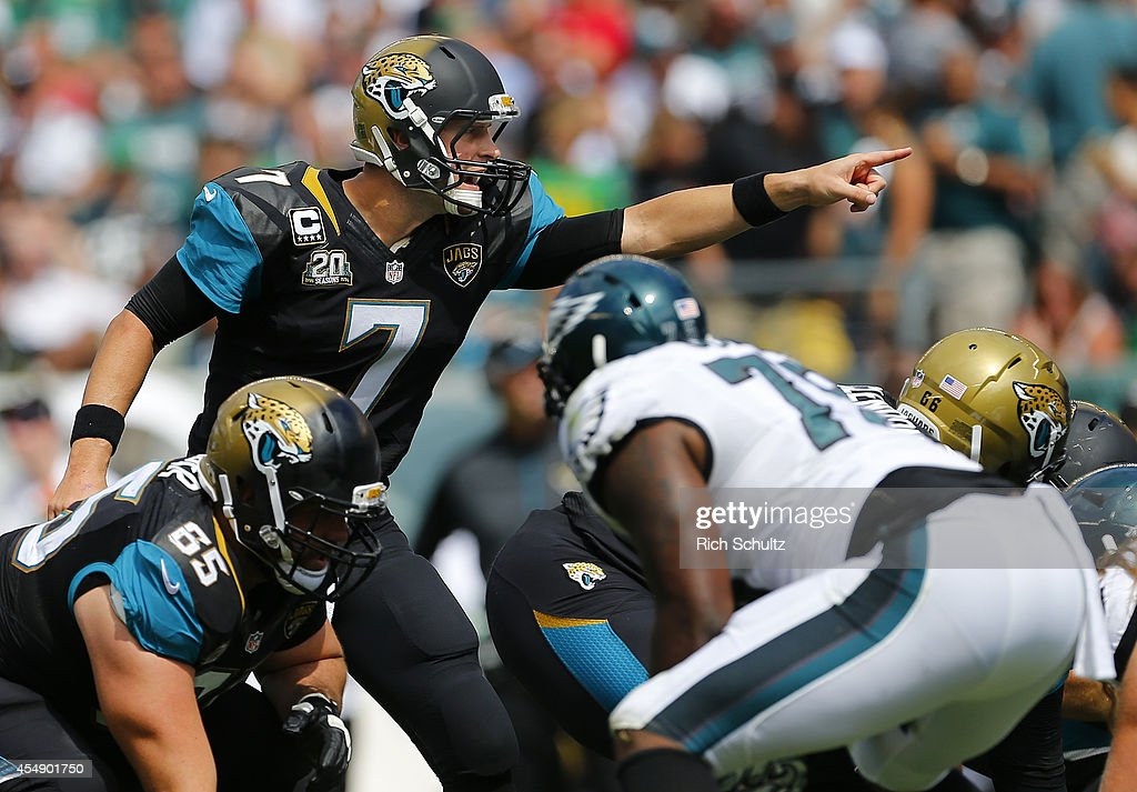 Chad Henne #7 of the Jacksonville Jaguars calls a play against the Philadelphia Eagles during the second half of a NFL game at Lincoln Financial Field on September 7, 2014 in Philadelphia, Pennsylvania.