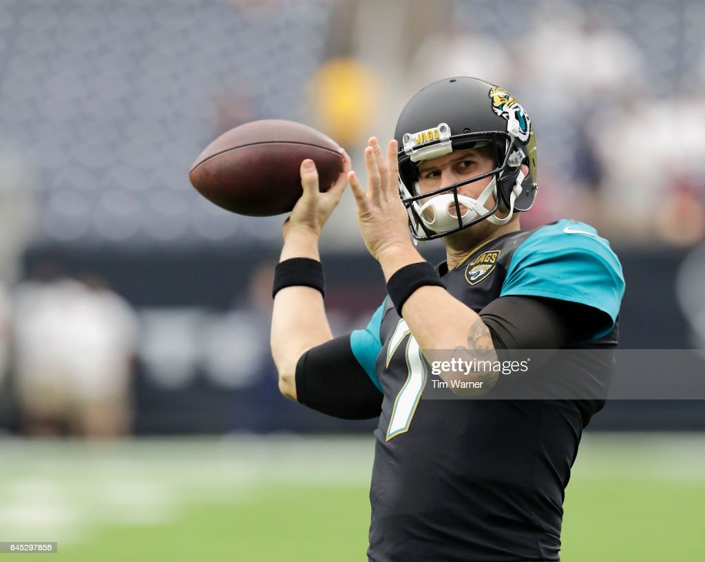 Chad Henne #7 of the Jacksonville Jaguars warms up before the game against the Houston Texans at NRG Stadium on September 10, 2017 in Houston, Texas.