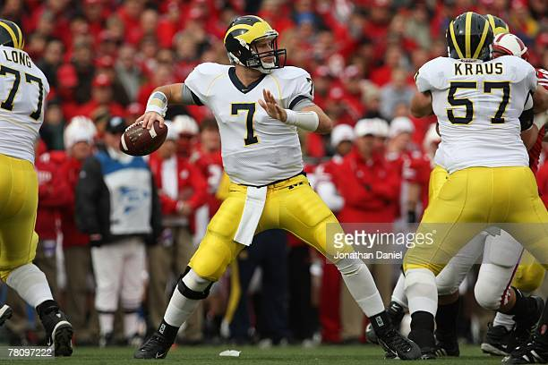 Chad Henne of the Michigan Wolverines fades back to pass during the game against the Wisconsin Badgers at Camp Randall Stadium on November 10 2007 in...