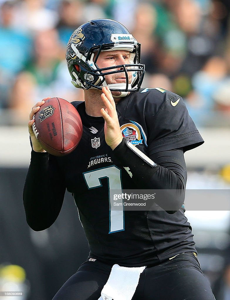 Chad Henne #7 of theJacksonville Jaguars attempts a pass during the game against the New York Jets at EverBank Field on December 9, 2012 in Jacksonville, Florida.