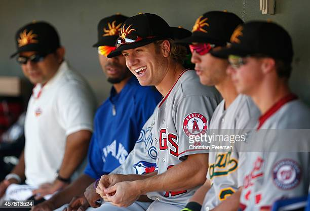Chad Hinshaw of the Mesa Solar Sox in the dugout during the Arizona Fall League game against the Surprise Saguaros at Surprise Stadium on October 21...
