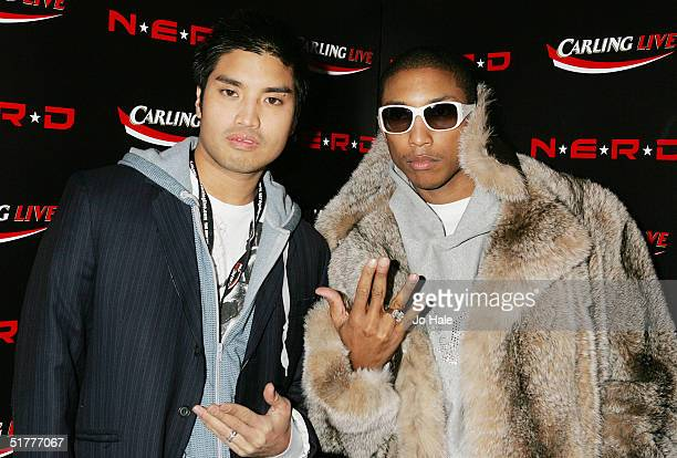 Chad Hugo and Pharrell Williams attend the aftershow party following the final gig this year by N*E*R*D at Sketch November 22 2004 in London