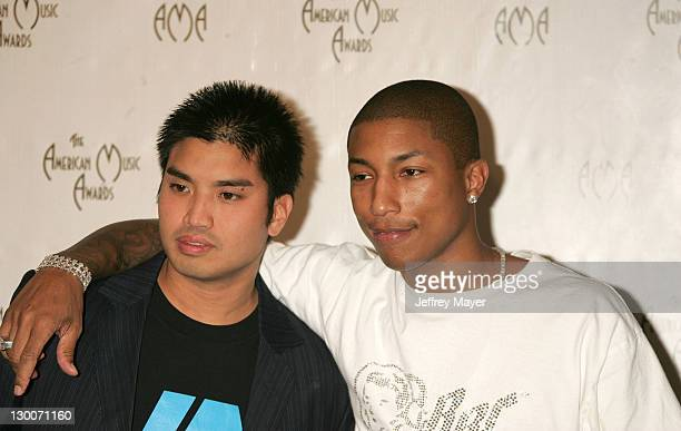 Chad Hugo and Pharrell Williams during 32nd Annual American Music Awards Press Room at Shrine Auditorium in Los Angeles California United States