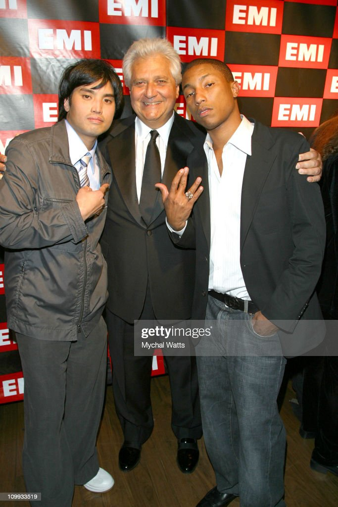Chad Hugo, Martin Bandier, Chairman and CEO of EMI Music Publishing, and Pharrell Williams