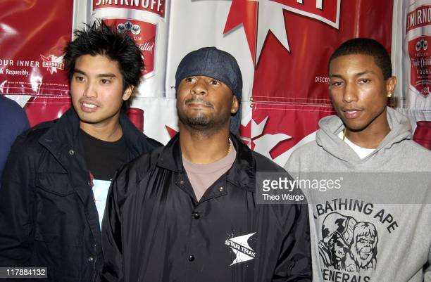 Chad Hugo Shay and Pharrell Williams of NERD during 'Smirnoff Experience' Music Tour Kick Off with NERD New York City at Union Square in New York...