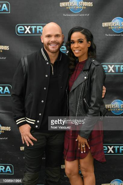 Chad Johnson and Michelle Williams visit Extra at Universal Studios Hollywood on November 7 2018 in Universal City California