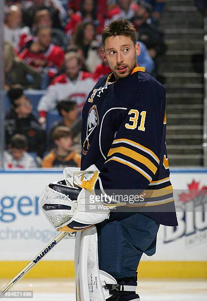 Chad Johnson of the Buffalo Sabres prepares to tend goal against the Montreal Canadiens during an NHL game on October 23 2015 at the First Niagara...