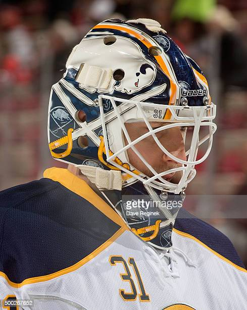 Chad Johnson of the Buffalo Sabres skates in warmups prior to the NHL game against the Detroit Red Wings at Joe Louis Arena on December 1 2015 in...