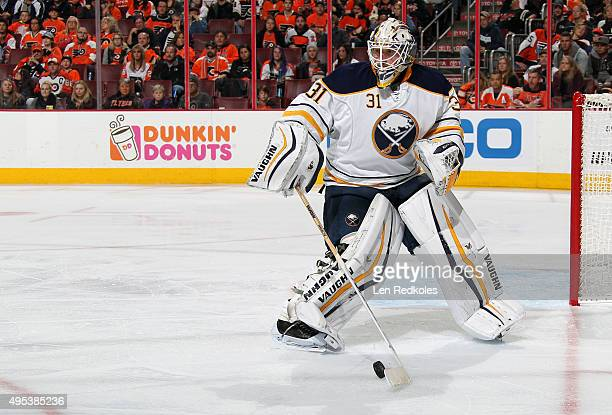 Chad Johnson of the Buffalo Sabres skates out of the net to play the puck against the Philadelphia Flyers on October 27 2015 at the Wells Fargo...
