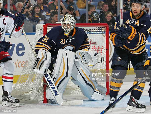 Chad Johnson of the Buffalo Sabres tends goal against the Columbus Blue Jackets on October 12 2015 at the First Niagara Center in Buffalo New York