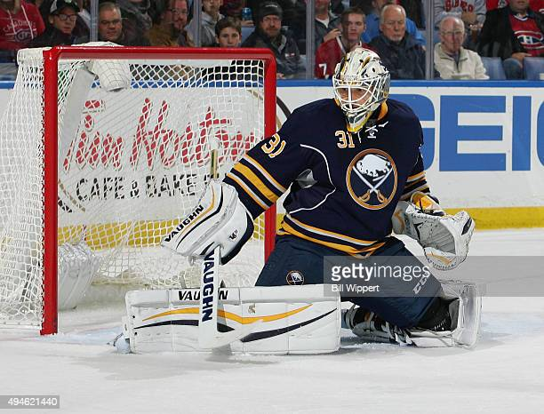 Chad Johnson of the Buffalo Sabres tends goal against the Montreal Canadiens during an NHL game on October 23 2015 at the First Niagara Center in...