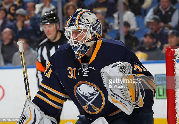 Chad Johnson of the Buffalo Sabres tends goal against the San Jose Sharks during an NHL game on November 14 2015 at the First Niagara Center in...