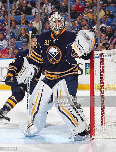 Chad Johnson of the Buffalo Sabres tends goal against the Tampa Bay Lightning on October 10 2015 at the First Niagara Center in Buffalo New York