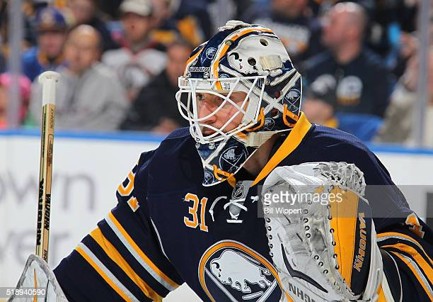 Chad Johnson of the Buffalo Sabres tends goal against the Winnipeg Jets during an NHL game on March 26 2016 at the First Niagara Center in Buffalo...