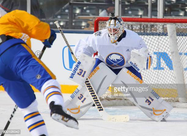Chad Johnson of the Buffalo Sabres tends goal at Practice Day for the 2018 Bridgestone NHL Winter Classic at Citi Field on December 31 2017 in New...