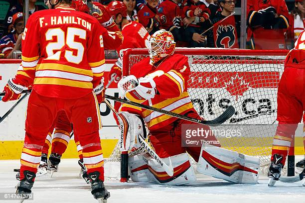 Chad Johnson of the Calgary Flames skates in the warmup before an NHL game against the Edmonton Oilers on October 14 2016 at the Scotiabank...