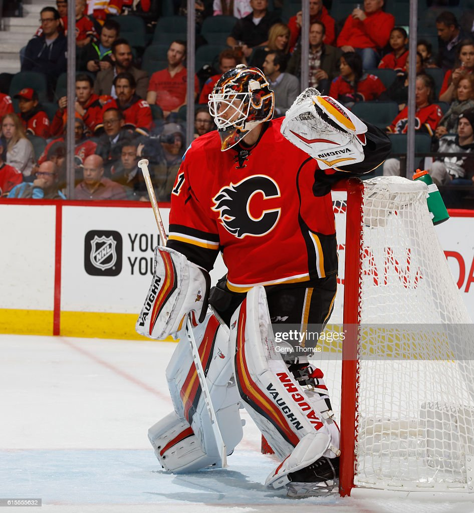 Chad Johnson #31 of the Calgary Flames stays focused during against the Buffalo Sabers at Scotiabank Saddledome on October 18, 2016 in Calgary, Alberta, Canada.