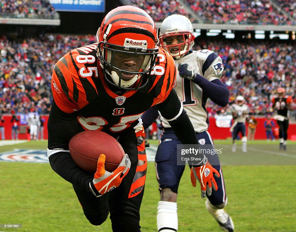Chad Johnson #85 of the Cincinnati Bengals catches the ball in front of Randall Gay #21 of the New England Patriots for a touchdown at Gillette Stadium on December 12, 2004 in Foxboro, Massachusetts.