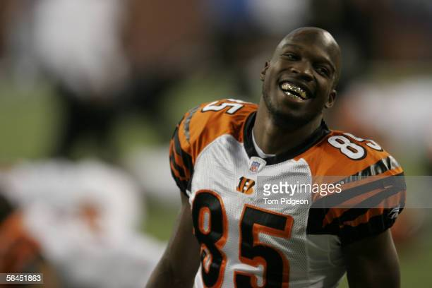 Chad Johnson of the Cincinnati Bengals jokes with a teammate during warmups against the Detroit Lions at an NFL game at Ford Field on December 18,...