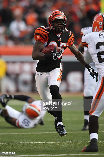 Chad Johnson of the Cincinnati Bengals runs for yards against the Cleveland Browns on December 23 2007 at Paul Brown Stadium in Cincinnati Ohio