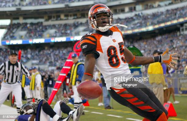 Chad Johnson of the Cincinnati Bengals scores a touchdown at the begining of the fourth quarter during their game against the Baltimore Ravens at MT...
