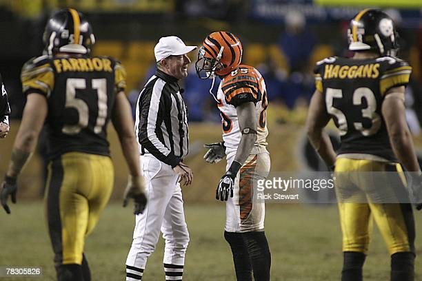 Chad Johnson of the Cincinnati Bengals talks to the referee during the NFL game against the Pittsburgh Steelers at Heinz Field on December 2, 2007 in...