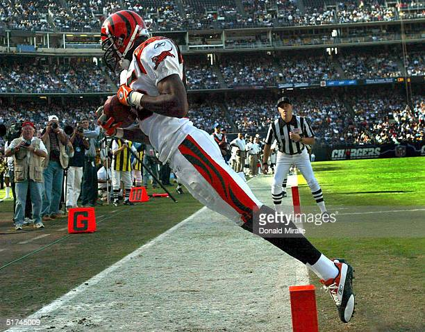 Chad Johnson of the Cincinnatti Bengals gets his toes in the end zone to score a touchdown against the San Diego Chargers in the firsthalf NFL action...