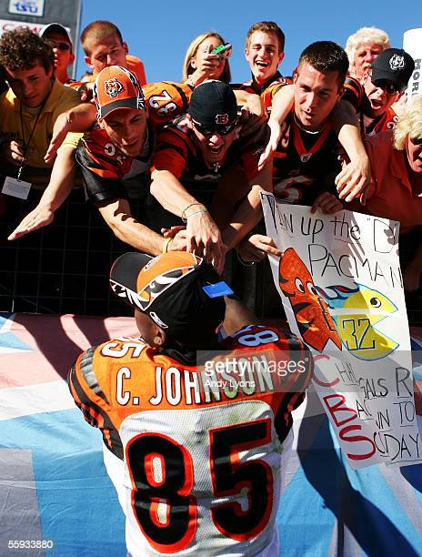 Chad Johnson of the Cincinnnati Bengals is congratulated by fans after the Bengals beat the Tennessee Titans 3123 on October 16 2005 in Nashville...